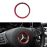 Duoles Sports Aluminum Steering Wheel Center Decoration Cover Trim for Mercedes B C E CLA GLA GLC GLK Class, etc (Red, 2.3'' Inner Ring Size)