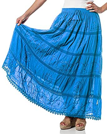 Alki'i Embroidered Full/Ankle Length gypsy bohemian long skirt - Blue - One Size Fits All