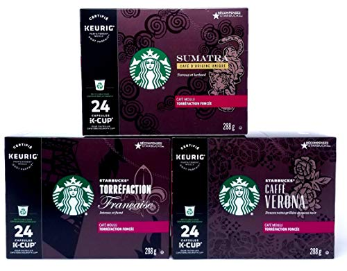 Starbucks Coffee K-Cup Variety Value Pack 3 Boxes of 24 (72 total K-Cup pods) (Variety Black Coffee, 72 Count)