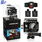 Meerveil 4K Action Camera WiFi Waterproof Sports Camera with Remote Control 170 Degree Wide Angle Lens,Sony CMOS Sensor- 2 PCS 1050mAh Batteries ,Full Accessories Kits