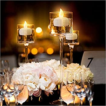 shineco waterproof floating flameless led tea light yellow lighting battery powered romantic set 12 flickering candles votive style fake candles