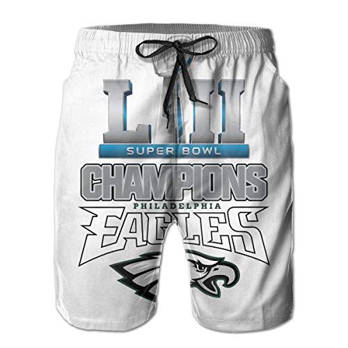 (Men's Philadelphia Eagles Summer Short Quick Dry Lace Beach Board Shorts Comfortable Beachwear White )