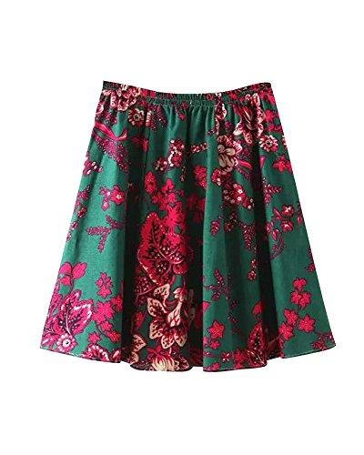 Couleur Plage Fille t Jupe Midi Basique Vacances 18 Lin Floral Jupe Casual Boho Imprim Plisse Patineuse Elastique Femme vase Court UnR8gSS