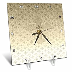 3dRose Gold Cross with Jewel Look on Larger Gold Cross - Desk Clock, 6 by 6-Inch (dc_180926_1)