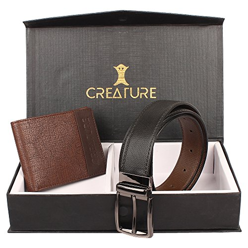 CREATURE Pu-Leather Wallet For Men With Multiple Card Slots And Reversible Pu-Leather Formal Belts For Men(BL-02 P-001)