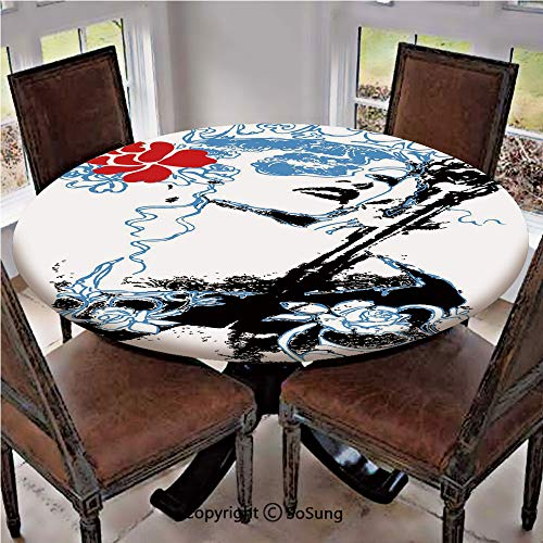 Elastic Edged Polyester Fitted Table Cover,Grungy Vintage Woman with Crown and Roses Gothic Art Fancy Fashion Feminine,Fits up 56
