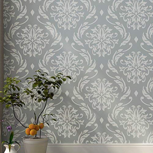 "Lily Blooms Wall Stencil for Painting - Large Size 21.5""x24"" - Large Floral Damask Stencil"