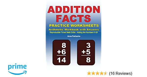 Addition Facts Practice Worksheets Arithmetic Workbook with Answers ...