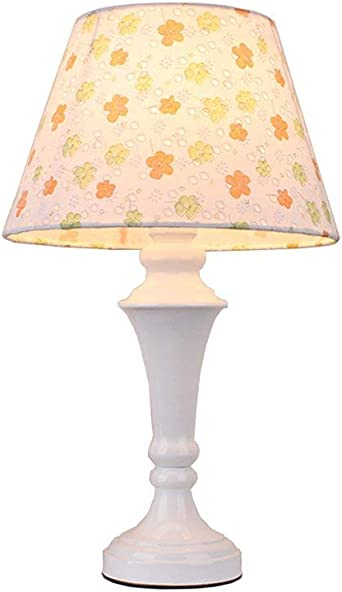 Flower Pattern Table Lamp with White
