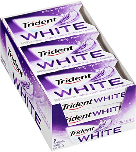 Trident White Sugar Free Gum, Cool Rush, 16-Piece Package (Pack of 9)