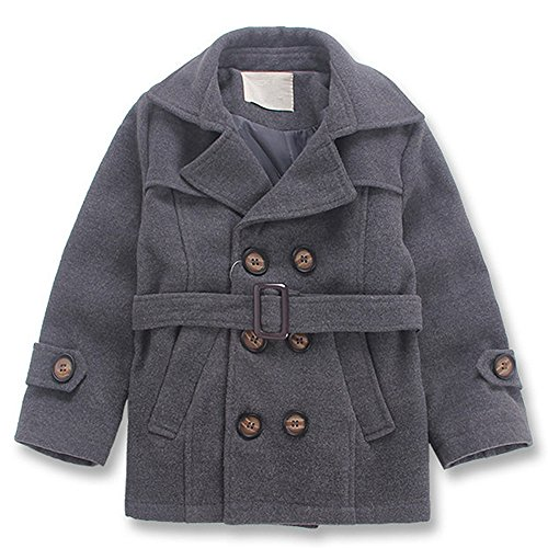 QJH Kids Boys'Wool Blend Duffle Coat Double Breasted Belt (Double Breasted Wool Belt)