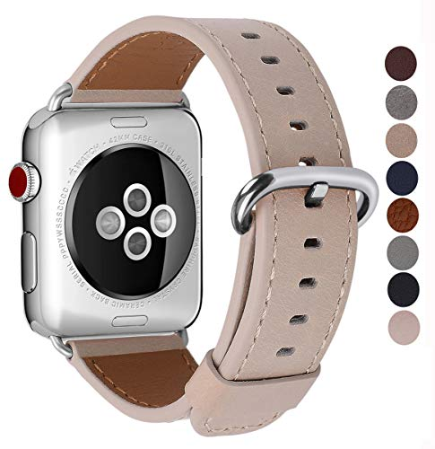 (JSGJMY Compatible with Iwatch Band 38mm 40mm 42mm 44mm Women Men Genuine Leather Replacement Strap Compatible with Series 4/3/2/1 Sport Edition (Light tan, 38mm 40mm S/M))
