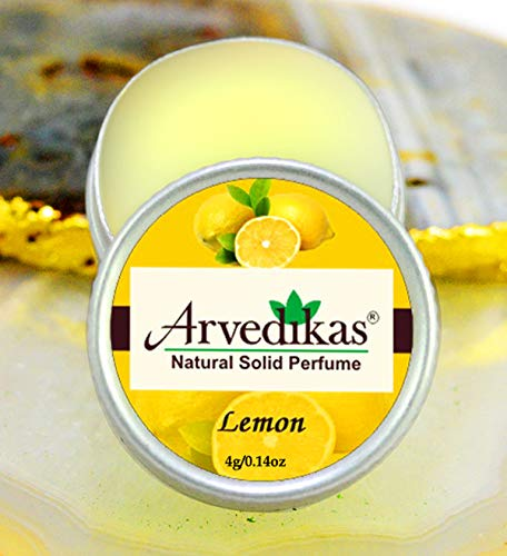 Arvedikas Lemon Natural Solid Perfume Beeswax/Mini Jar/Essential Oil Blend Perfume/Organic Vegan Travel Perfume/Pocket Size Compact Cologne/Scented Balm/Skin Friendly / 4gm (23 Varieties)