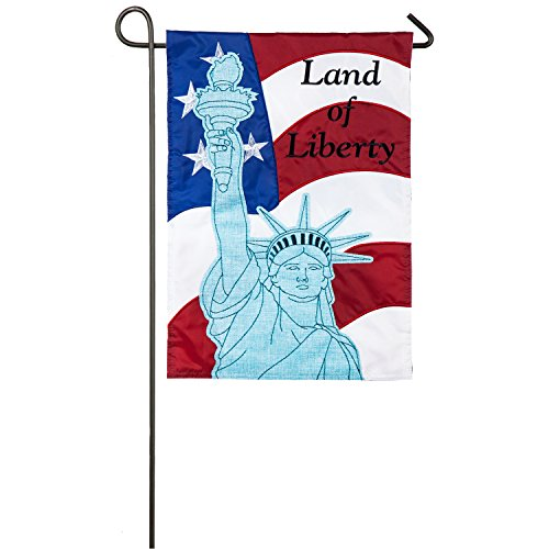 Evergreen Statue of Liberty Outdoor Safe Double-Sided Applique Garden Flag, 12.5 x 18 inches
