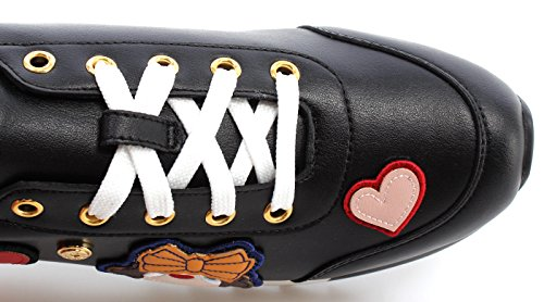 Love Moschino Damen Schuhe Sneakers Power 25 Vitello Nero Ricamo Black Schwarz