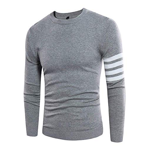 Hommes Longues Tops Mode Automne Vintage Col Casual Rond Rayé Gris Manches Point Printemps Pull ztRqf