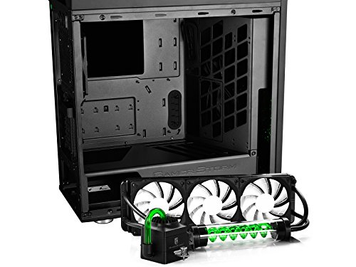 DEEPCOOL GENOME worldwide first unique PC case with integrated 360mm liquid cooling system Black case with Green helix