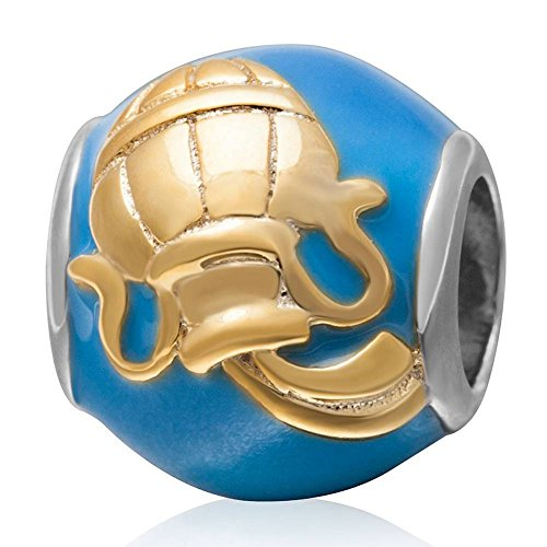 Aquarius Charm Gold Plated - Charmstar Gold Plated Aquarius Zodiac Sign Charm with Blue Enamel and Clear Austrian Crystal Authentic 925 Sterling Silver Western Birthday Horoscope Cheap Bead Fits European Bracelet