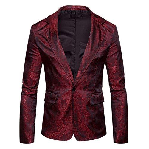 Retro Élégant De Blazer Hommes Casual Suit Vestes Un Fit Longues Slim Rouge Loisirs Costume Manches Veste Paisley Bouton Pour Revers 0qdwSn08