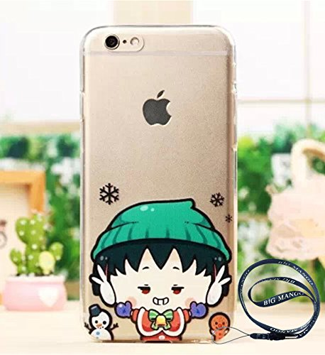 """Fashion Cute Cartoon Comic Chi-bi Maruko Pattern Series Lovely Back Cover for Apple iPhone 5 iphone 5s iphone 5g Soft TPU Smartphone Protector Case Mischief Expression,+ Gift """"BIG MANGO"""" Logo Strap"""