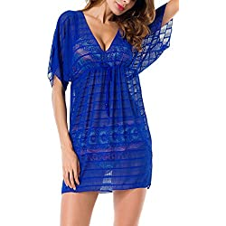 Costyleen Womens Summer Sexy See-through Bikini Cover up Sun Protective Beach Dress,M,Sapphire blue,Sapphireblue,Medium