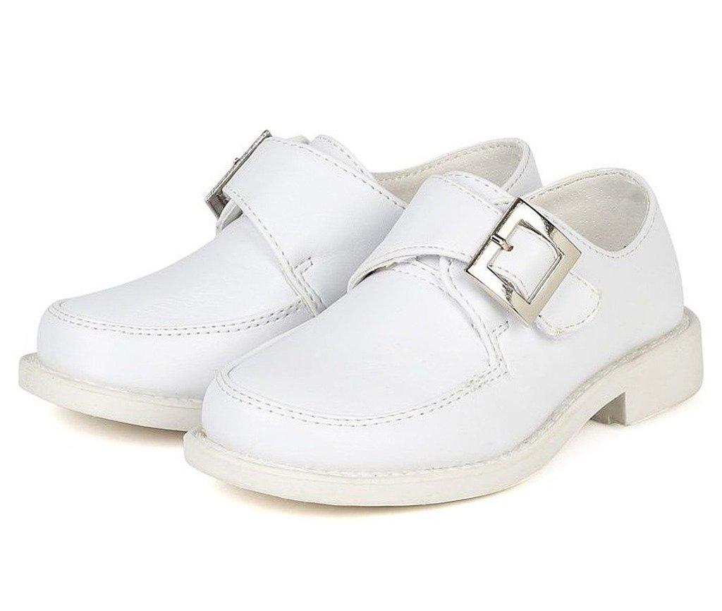 iGirlDress Velcro Buckle Strap Dress School Boys Shoes 1Y White