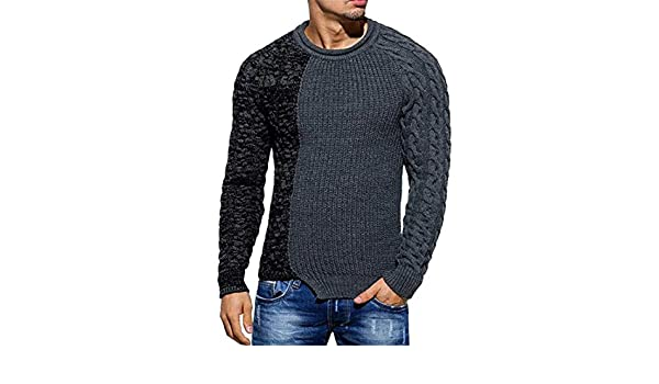 CYJ-shiba Mens Autumn Long Sleeve Color Block Knitted Crew Neck Pullover Sweater