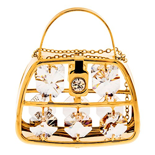 Purse 24k Gold Plated Metal Ornament with Spectra Crystals by Swarovski