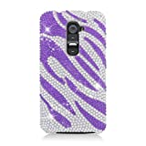 Eagle Cell Diamond Protector Case for LG G2, Retail Packaging, Purple Zebra