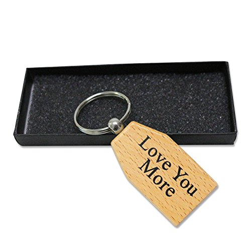 Wooden Keychain LOVE YOU MORE   Valentines Day Gifts for Boyfriend or Girlfriend   Wedding Anniversary Gifts for Her or Him  Wood Key chains for Men and Women