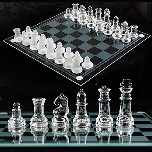 Juego de ajedrez de Rompecabezas De Vidrio, Incluye un Tablero de ajedrez de Cristal Fino y 32 Piezas de ajedrez…