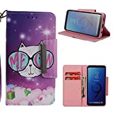 Leather Wallet Case for Samsung Galaxy S9,Shinyzone Cute Cartoon Animal Cat Painted Pattern Flip Stand Case,Wristlet & Metal Magnetic Closure Protective Cover