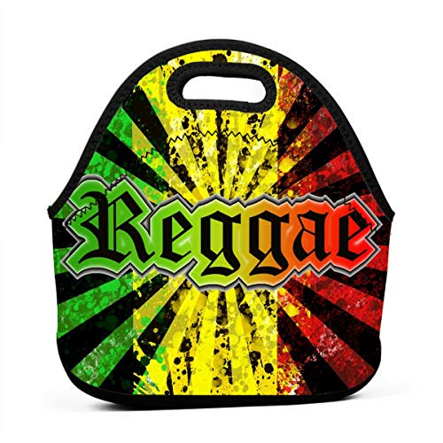 Jinkela Neoprene Portable Lunch Bag Carry Case Tote with Zipper Box Cooler Container Bags Picnic Outdoor Travel Fashionable Handbag Pouch for Women Men Kids Girls Reggae Jamaican Music Tie Dye