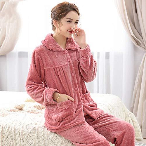 Domicilio De Mediana A Mujer Traje Cálida Servicio Terciopelo Pijamas Rosado Franela Cn Invierno Coral Edad SnCw1xY7q5