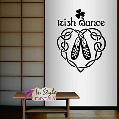 Wall Vinyl Decal Home Decor Art Sticker Irish Dance Words Sign Shoes Ireland Dublin Celtic Step dance Bedroom Living Room Removable Stylish Mural Unique Design