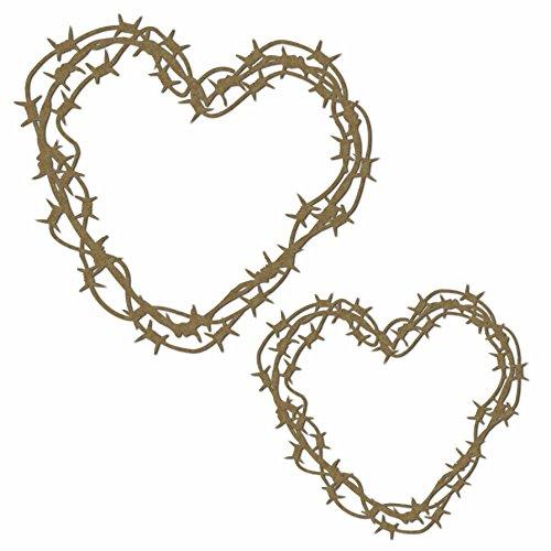 - Barbed Wire Hearts - Laser Cut Chipboard - 2 Piece Set