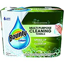 """Bounty 92380 Paper Towels with Dawn, 2-Ply, 11"""" x 14"""", White (Pack of 6)"""