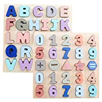 GEMEM Wooden Alphabet Chunky Puzzles ABC Upper Case Letter and Number Learning Board Educational Toys for Toddlers Boys Girls Pack of 2