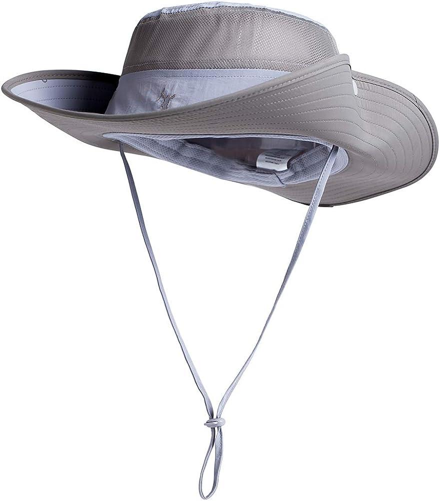 Comhats Siggi UPF50 - Sombrero de pesca con ala ancha, sombrero de trekking para hombre, Primavera-Verano, Hombre, color gris, tamaño M
