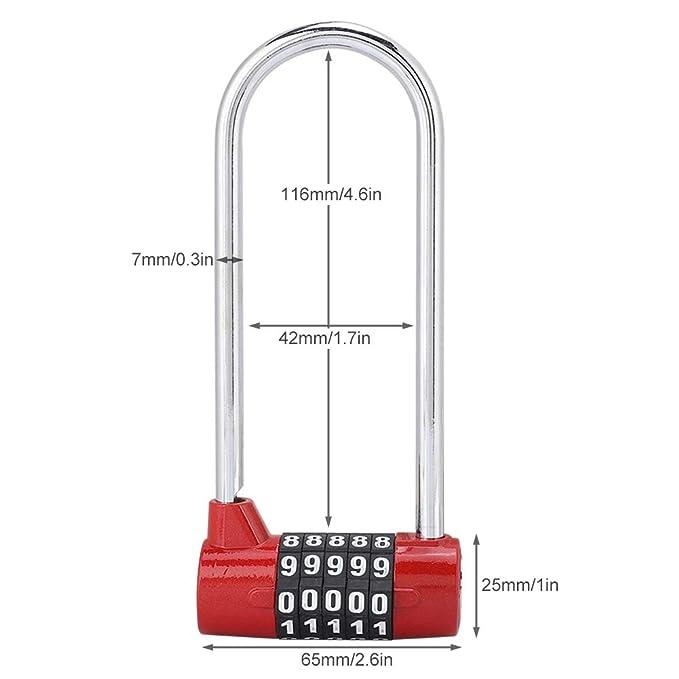 rouge Cadenas /à combinaison /à 5 chiffres en alliage s/écurit/é en forme de U Verrouillage du code Serrure de verrouillage du casier tr/ès long avec serrure /à code
