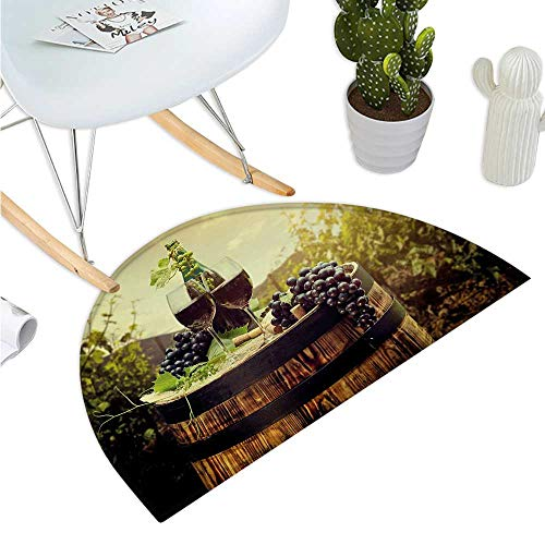 Wine Semicircular Cushion Scenic Tuscany Landscape with Barrel Couple of Glasses and Ripe Grapes Growth Bathroom Mat H 19.7