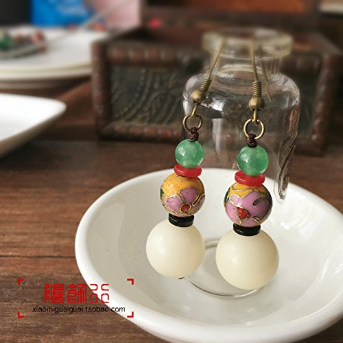 Original national wind cloisonne white Bodhi Chinese fashion jewelry earrings women girls models fall literary minimalist real shot in Yunnan ()