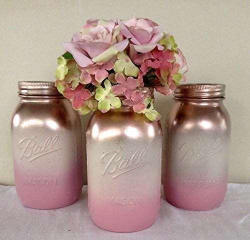 Set Of 3 Rose Gold, Antique White, And Pink Painted Mason Jars Centerpieces,