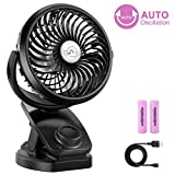 COMLIFE F170 Clip On Stroller Fan, Mini Portable Desk Fan with Auto Oscillation, Battery Operated Fan, Aroma Diffuser Function, Stepless Speeds Control, Powerful Airflow for Outdoor Activities