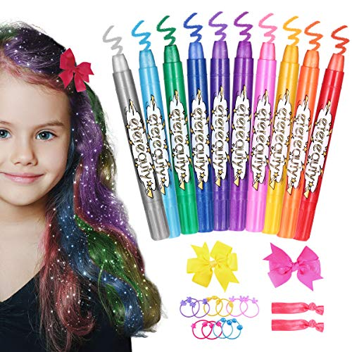 Hair Chalk for Girls, ETEREAUTY Temporary Hair Chalk Pens 10 Colours, Washable Hair Dye Chalk with Butterfly Hair Clips for Girls, Gifts, Kids Toys, Birthday Gifts for Girls