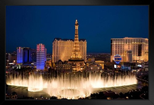 - Bellagio Fountain Ballys Paris Casinos Las Vegas Photo Art Print Framed Poster 20x14 inch