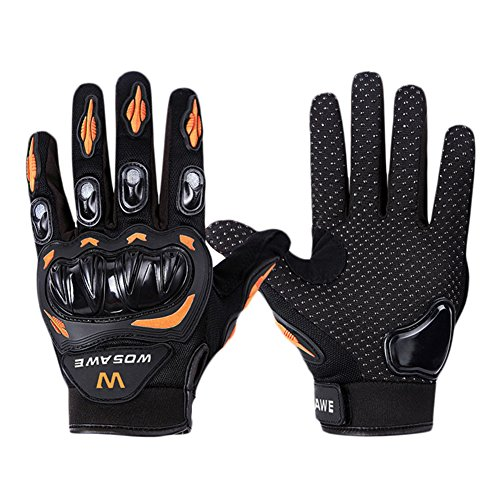 Luckycyc Motocross Racing Gloves Full Finger Motorcycle Gloves Protective Gear for Riding Cycling (Orange, M)