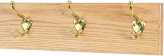 """product image for Oak Wall Mounted Coat Rack with Solid Brass Hooks 4.5"""" Ultra Wide (Natural, 15"""" x 4.5"""" with 3 Hooks)"""