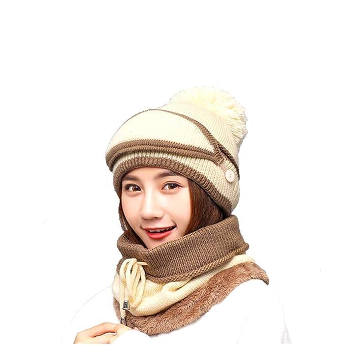 Women Velvet Knit Peruvian Beanie Hat with Mask Winter Earflap Pom Cap Ski  Hat (Beige 21b7059459ac