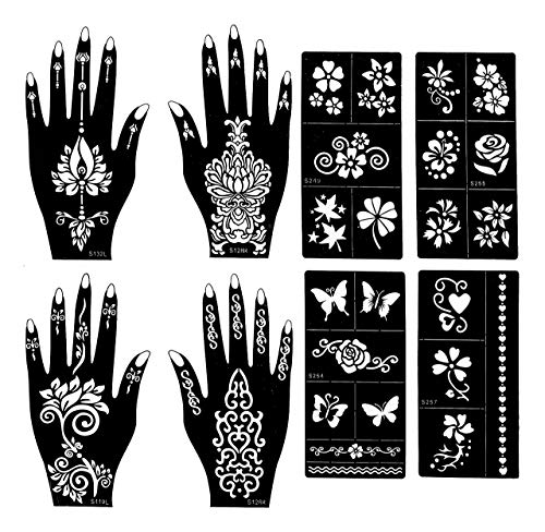 Henna Tattoo Stencils (Pack Of 8) | Henna Tattoo kit | 4 Different Patterns (2 Each Hand) | Tattoo Stencils | Henna Stencils For Henna ()
